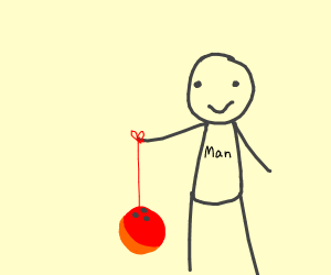 man plays with a yo-yo/bowling ball