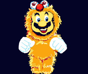 Mario in a yellmo costume