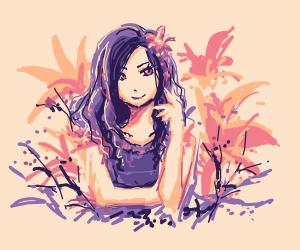 Girl lieing between lilies