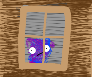 purple and blue thing staring out a window?