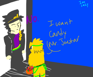 tiny dio wants jotaro to give him candy