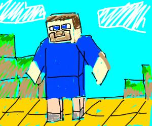 steve from mc wearing a blue onesie