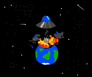 Planets explode in atomic bombs (space war)
