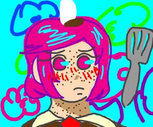 Natsuki in a spongebob costume eating churros