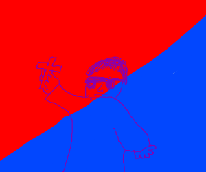 christian dude in red and blue