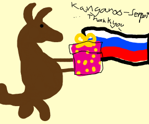 Kangaroo gives Russia a present
