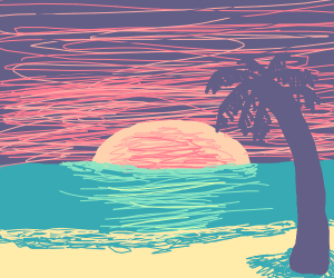 Sunset on the beach. Obligatory palm tree
