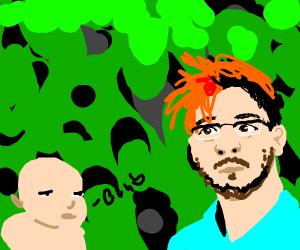Markipler stares at blabbering baby