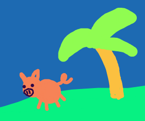 Pig beside a palm tree