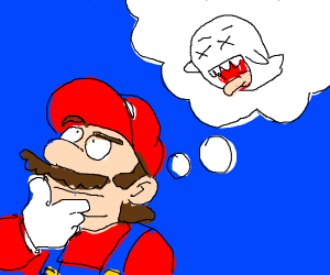 Mario thinking how he can kill a ghost