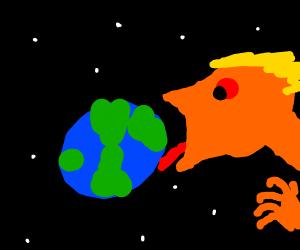 A very orange trump succs on the earth