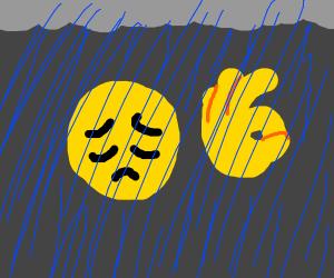"sad ""ok"" hand emoji in the rain"