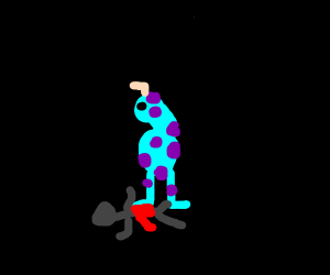 No hand monster steps on a stickman