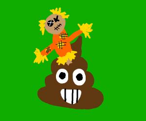 Scarecrow on top of poop emoji