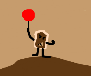 Angry toast holds a balloon