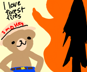 Smokey the Bear starting a forest fire