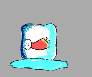 some boy frozen inside an ice cube