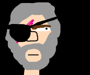 Old bearded man with a scar