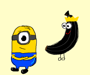 Minion disappointed in dark banana lord