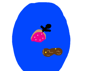 Stickman baked in donut floats in toilet