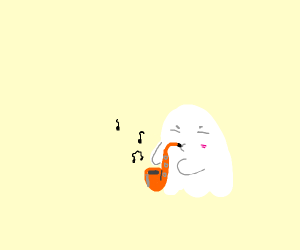 ghost playing a saxophone