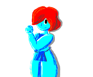 Buff blue girl with loin clothes