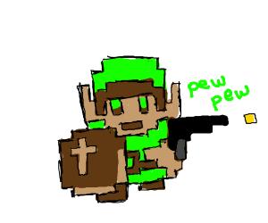 Link firing a gun