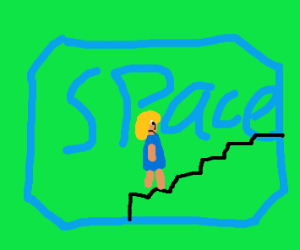 Girl running on stairs in space