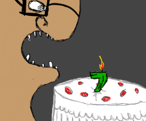 man with glasses eats birthday cake