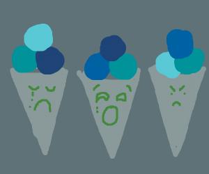 Depressing ice cream cones