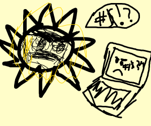 Sun arguing with a laptop
