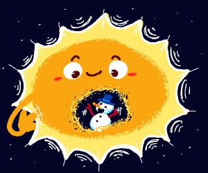 Snowman waving in the sun