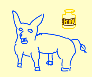 blue donkey with honey
