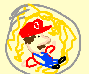 bootleg mario in a bowl of spaget?