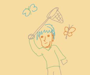 Person catching butterflies