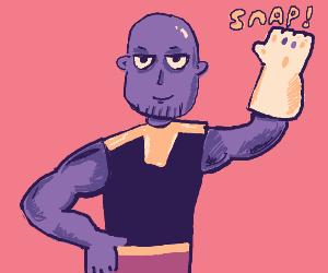 sassy thanos gives the snap
