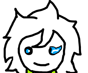 Komaeda with blue eyes