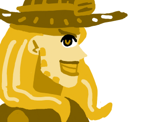 Cowboy with long blonde hair and yellow teeth