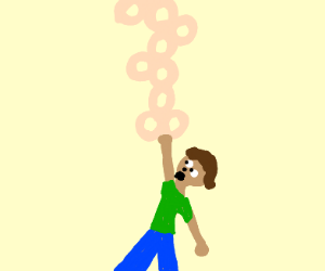 man hangs from ceiling on cheerio chain
