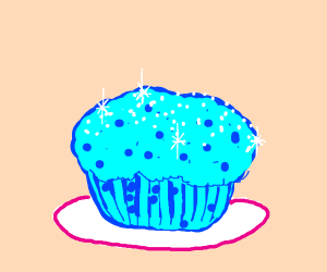 Blue Muffin with sugar sparkling