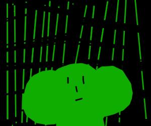 Lesingefou head in front of Matrix-like backg