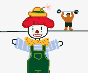 Clown guy with mucle man standing in backroun