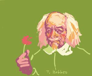 Hobbes holding flower