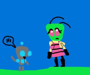Gir meets a female Irken