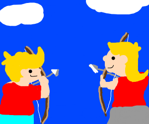 Blonde guy and girl with bow
