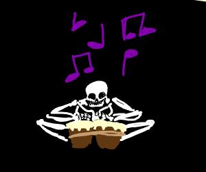 Skeleton playing the bongo