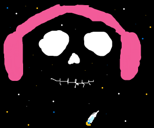 galaxy skull with pink headphones