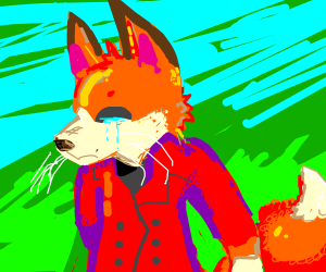 Crying fox in red coat