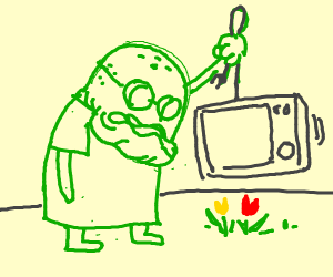 Old Man Jenkins crushes tulips with microwave