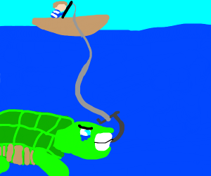 a man fishing up a turtle